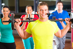Weight training in the gym with dumbbells Stock Photos