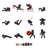 Weight training icon. Set of 12 icon weight training for abdominal only character silhouetted vector illustration