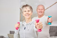 Weight training for seniors. Weight training fitness for active seniors at home royalty free stock photos