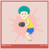 Weight training. Vector illustration boy is exercise by weight training Stock Photos