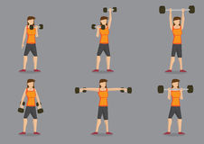 Weight Training Woman Vector Character Illustration. Set of six vector illustration of woman doing weights training with dumbbells  on grey background Royalty Free Stock Image