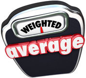 Weighted Average 3d Words Scale Medium Standard Common Typical. Weighted Average 3d red words on a scale to illustrate measuring to find the medium point, median Stock Photography