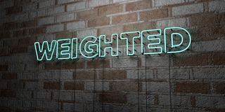 WEIGHTED - Glowing Neon Sign on stonework wall - 3D rendered royalty free stock illustration. Can be used for online banner ads and direct mailers Stock Images