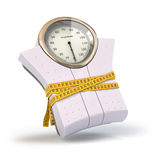 Weighting scales with measuring tape. Diet concept. vector illustration