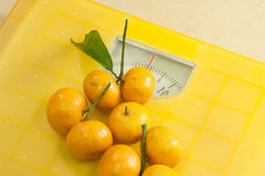 Weighting scales yellow Stock Image