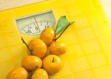 Weighting scales yellow Royalty Free Stock Image