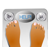 Weighting themselves on a scale Stock Image