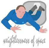 Weightlessness of space astronaut flying  illustration Stock Image