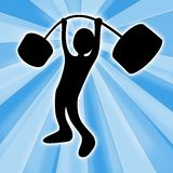 Weightlifter. Computer generated image - Weightlifter with abstract background Stock Photo