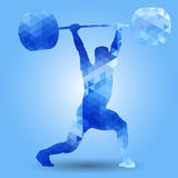Weightlifter with barbell Clean & Jerk triangle Royalty Free Stock Photos