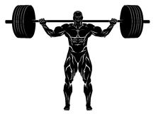 Weightlifter with barbell. Vector illustration of a weightlifter with barbell Stock Photos