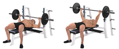 Weightlifter bench pressing Stock Image