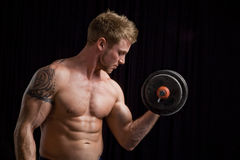 Weightlifter on Black Stock Photos