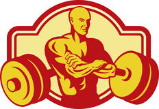 Weightlifter Body builder weights. Imagery shows a Weightlifter or Body builder posing with weights at the back Stock Photos