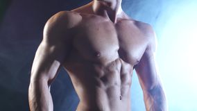 Weightlifter or bodybuilder demonstrates his body, strength and endurance. Black smoke background. Weightlifter shows his body a pumped up torso and real stamina stock footage