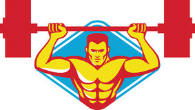 Weightlifter Bodybuilder Lifting Weights Retro. Illustration of a weightlifter bodybuilder lifting weights viewed from front set inside diamond shape done in Royalty Free Stock Image