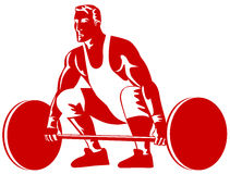 Weightlifter breaking a record. Vector art of a Weightlifter breaking a record lift Stock Photo