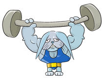 Weightlifter bunny. Vector illustration without gradients and transparencies, easy to handle Stock Photos