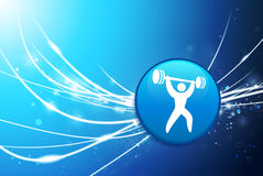 Weightlifter Button on Blue Abstract Light Background Royalty Free Stock Photos