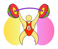 Weightlifter. The weightlifter in the championship raises the bar Stock Photos