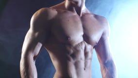 Weightlifter of de bodybuilder tonen zijn lichaam, sterkte en duurzaamheid aan Zwarte rookachtergrond stock footage