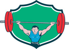 Weightlifter Deadlift Lifting Weights Shield Cartoon Royalty Free Stock Images