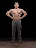 Weightlifter i studio royaltyfri bild