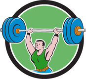 Weightlifter Lifting Barbell Circle Cartoon Royalty Free Stock Image