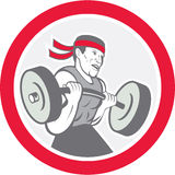 Weightlifter Lifting Barbell Circle Cartoon Stock Photography