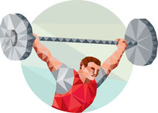Weightlifter Lifting Barbell Circle Low Polygon Stock Photos