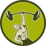 Weightlifter Lifting Barbell Circle Retro Royalty Free Stock Images