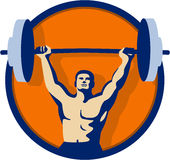Weightlifter Lifting Barbell Circle Retro Stock Images