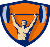 Weightlifter Lifting Barbell Crest Retro Royalty Free Stock Photos