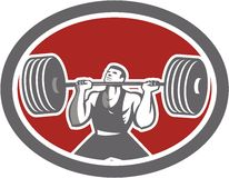 Weightlifter Lifting Barbell Front Oval Retro Stock Photography