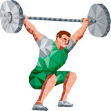 Weightlifter Lifting Barbell Low Polygon. Low Polygon style illustration of a weightlifter lifting barbell facing side set on isolated white background Stock Photos