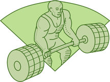 Weightlifter Lifting Barbell Mono Line Stock Images