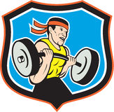 Weightlifter Lifting Barbell Shield Cartoon Royalty Free Stock Image