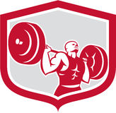 Weightlifter Lifting Barbell Shield Retro Royalty Free Stock Photos