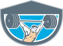 Weightlifter Lifting Barbell Shield Retro Stock Images