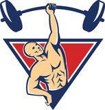 Weightlifter Lifting Barbell Weights Retro Stock Photography