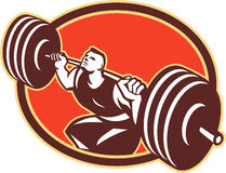Weightlifter Lifting Barbells Retro Stock Image