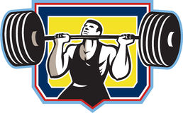 Weightlifter Lifting Heavy Barbell Retro Stock Image