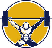 Weightlifter Lifting Weights Circle Retro Royalty Free Stock Photography