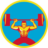 Weightlifter Lifting Weights Front Circle Retro Royalty Free Stock Photography