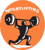 Weightlifter Lifting Weights Oval Woodcut Stock Photos