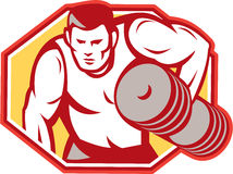 Weightlifter Lifting Weights Retro Stock Image