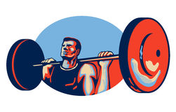 Weightlifter Lifting Weights Retro Royalty Free Stock Photography