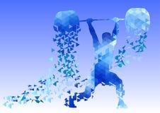 Weightlifter met Schone barbell & Schokdriehoek Stock Afbeelding