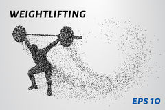 Weightlifter of the particles. Weightlifter raises the bar consists of points. Vector illustration Stock Photo