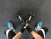 Weightlifter preparing for training Royalty Free Stock Images